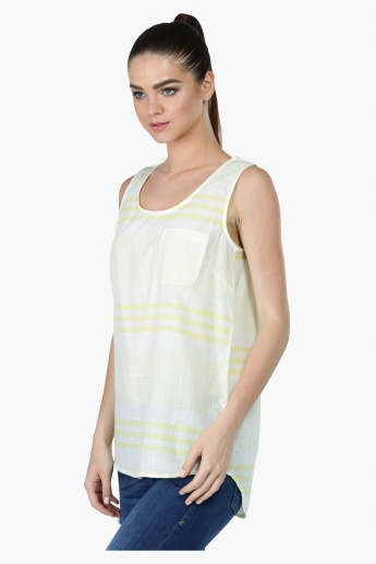 Sleeveless Textured Top with Patch Pocket