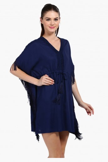 Fringed Short Sleeves Kaftan with Tasselled Tie Ups