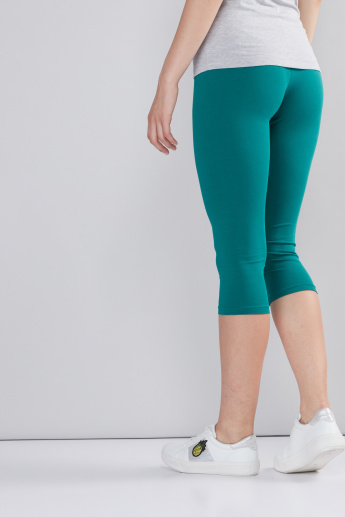 Mid-Rise 3/4 Leggings with Elasticised Waistband