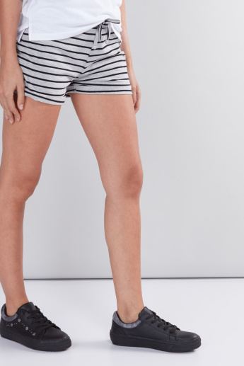 Striped Shorts with Drawstring and Elasticised Waistband