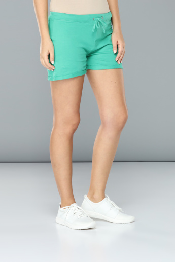 Mid-Rise Shorts with Elasticised Waistband and Drawstring
