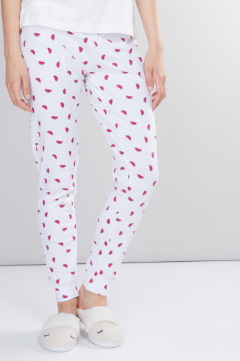Printed Pyjamas with Elasticised Waistband and Drawstring