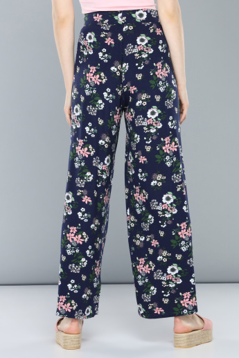 Printed Full Length Palazzo Pants with Drawstring