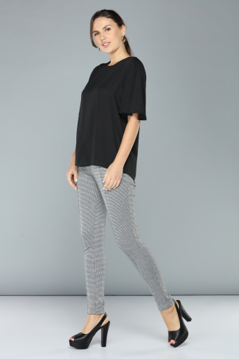 Chequered Full Length Leggings with Elasticised Waistband