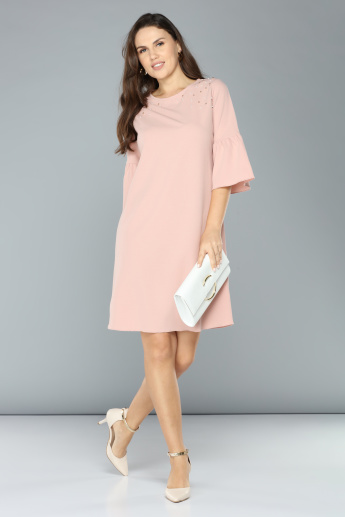 Pearl Detail Midi Dress with Round Neck and 3/4 Sleeves