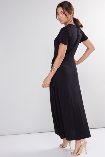 V-Neck Asymmetric Midi Dress with Short Sleeves and Tie Ups