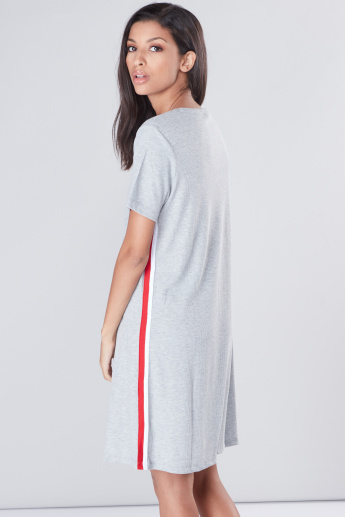 Ribbed T-Shirt Dress with Round Neck and Tape Detail