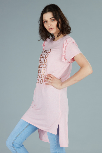 Printed Tunic with Round Neck and Short Sleeves