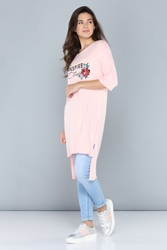 Printed Longline Tunic with Round Neck and High-Low Hem