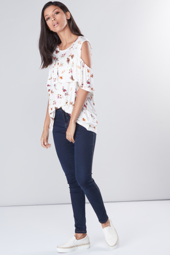 Printed Cold Shoulder Top with Round Neck