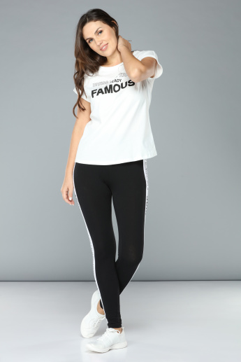Printed Round Neck Cap Sleeves T-Shirt