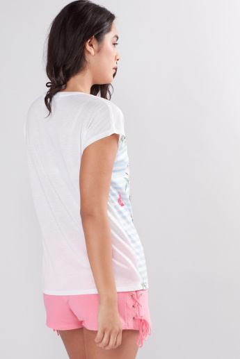 Printed Top with Round Neck and Cap Sleeves