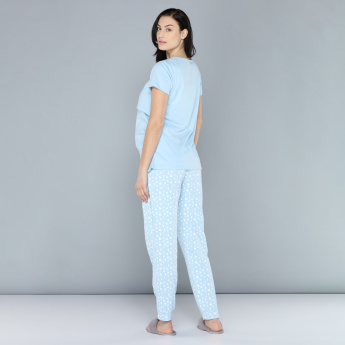 Maternity Round Neck T-Shirt and Pyjama Set