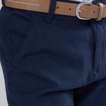 Textured Full Length Pants with Belt and Pocket Detail