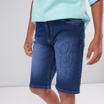 Embroidered Denim Shorts with Button Closure and Pocket Detail