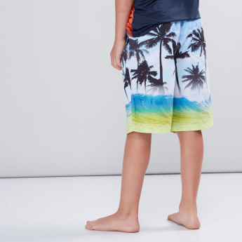 Printed Pocket Detail Shorts with Elasticised Waistband and Drawstring
