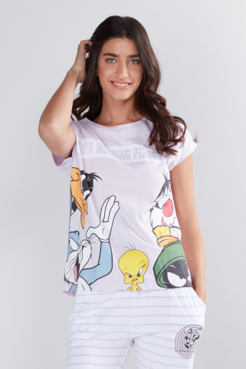 Looney Tunes Printed Cap Sleeves T-Shirt and Pyjama Set