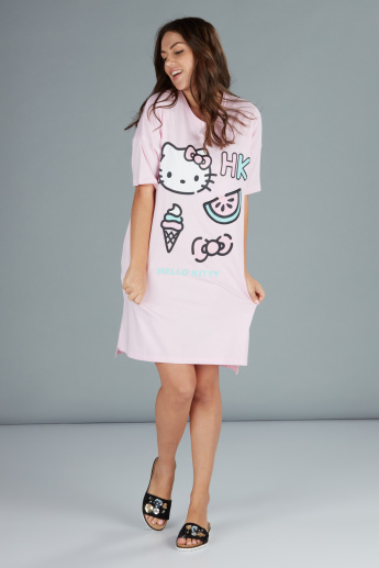 9aefa026cd5e Hello Kitty Printed Sleep Dress with Short Sleeves | Pink | Printed