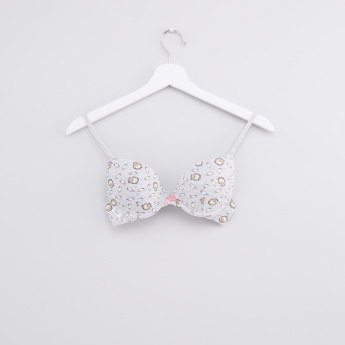 Garfield Printed Padded T-Shirt Bra with Hook and Eye Closure