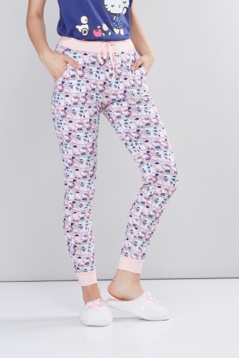 Hello Kitty Printed Sleeveless T-Shirt with Jog Pants