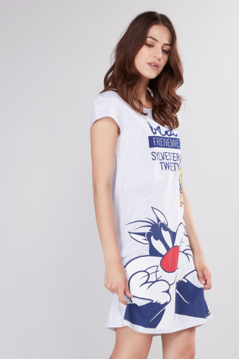 Sylvester and Tweety Printed Sleep Dress with Round Neck