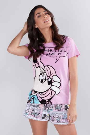 d31947fe32b0 Mickey Mouse and Minnie Mouse Printed T-Shirt with Shorts | Sets ...