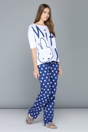 Miffy Printed T-Shirt and Pyjama Set