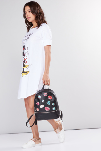 Minnie Mouse Printed Sleep Dress with Short Sleeves and Round Neck