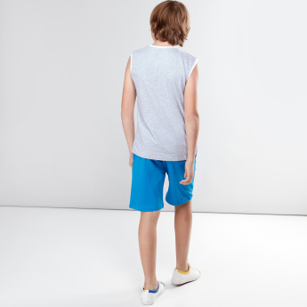 Printed Sleeveless T-Shirt with Shorts