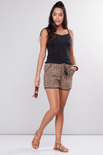 Printed Shorts with Elasticised Waistband and Pom-Pom Detail