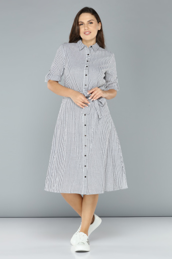 Striped Short Sleeves Midi Shirt Dress with Tie Up Belt Detail