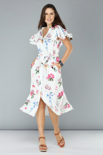 Floral Printed Midi Dress with Tie Ups