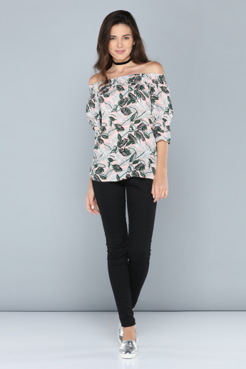 Printed Off Shoulder Top with 3/4 Sleeves