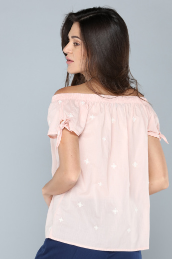 Embroidered Off Shoulder Top with Tie Up Detail