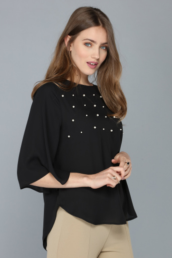 Pearl Detail Top with Round Neck and Flared 3/4 Sleeves