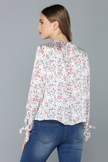 Printed Top with High Neck and Long Sleeves