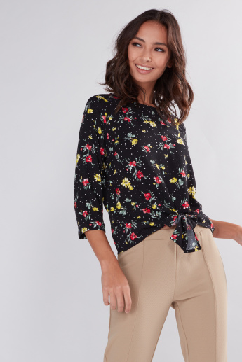 Floral Printed Top with Round Neck and Tie Ups