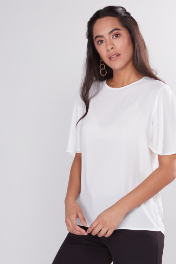 Round Neck Top with Flared Sleeves
