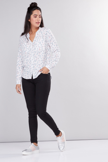 Printed Shirt with  Long Sleeves and Complete Placket