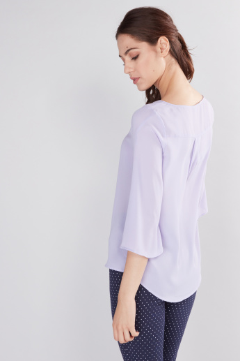 Round Neck Top with 3/4 Sleeves
