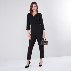 Solid V-neck Wrap Jumpsuit with 3/4 Sleeves