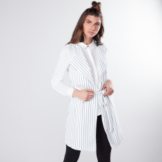 Striped Trench Coat with Tie Up Belt