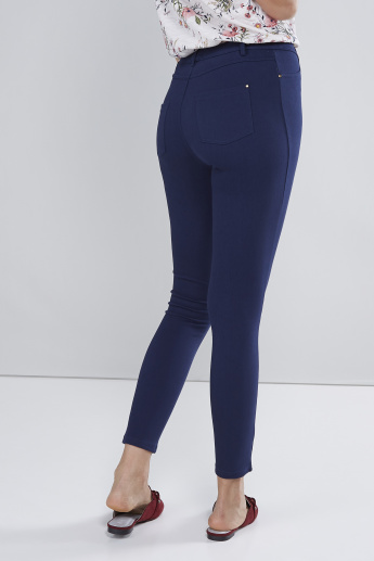 Full Length  Mid-Waist Jeggings with Pocket Detail