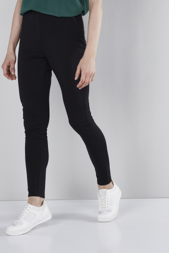Full Length Ponte Pants with Pocket Detail and Elasticated Waistband