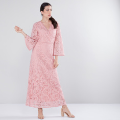 Lace Detail Maxi Dress with Flared Sleeves