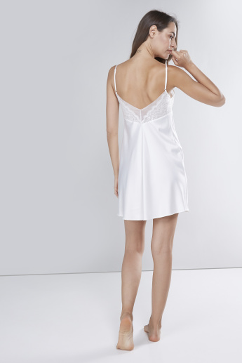 Solid Chemise with Lace Detail and Spaghetti Straps