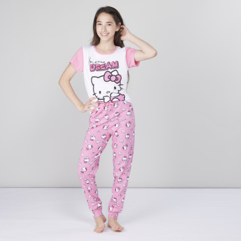 de19466bb Hello Kitty Printed T-shirt and Pyjama Set | Pink | Printed