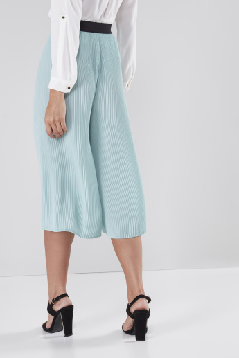 Pleated Mid-Rise Culottes with Elasticised Waistband