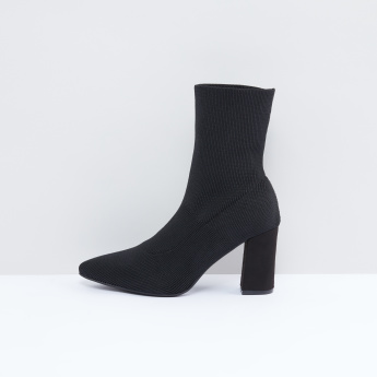Textured Boots with Block Heel