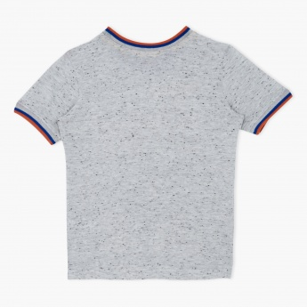 Printed Crew Neck Short Sleeves T-Shirt with Applique Work